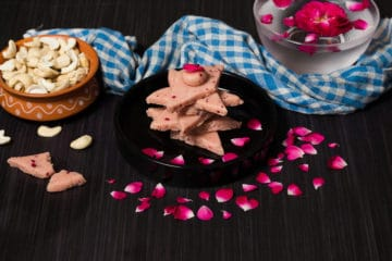 rose kaju katli recipe