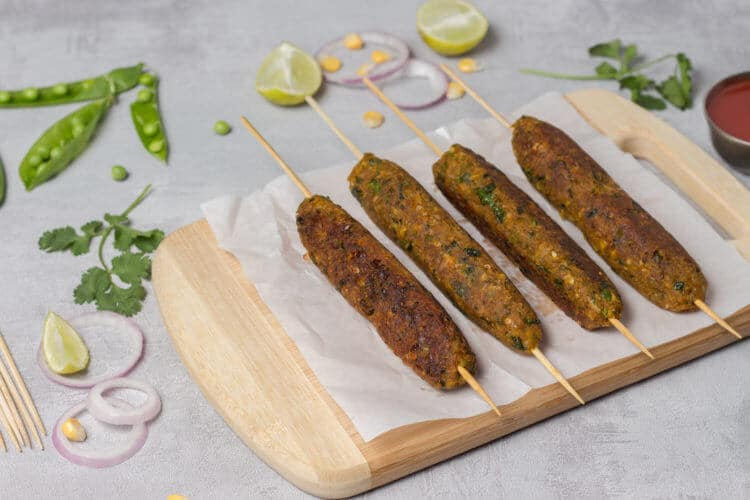 corn and peas seekh kebab